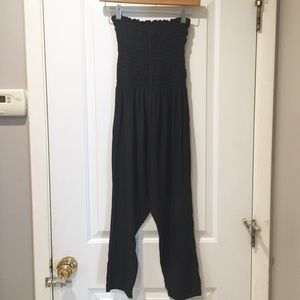 100% Silk Black Luxury Pants Tube Top Romper S